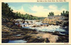 Wisconsin Eau claire Big Falls Of Eau Claire River  Curteich