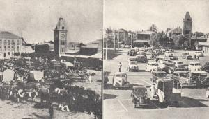 2-Views, Past And Present, Market Square, Kimberley, South Africa, 1930-1940s
