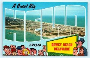Postcard DE Dewey Beach Large Letter Hello View of Town Rainbow Cove H07