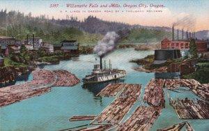 Oregon Oregon City Logging Scene Willamette Falls and Mills sk4117