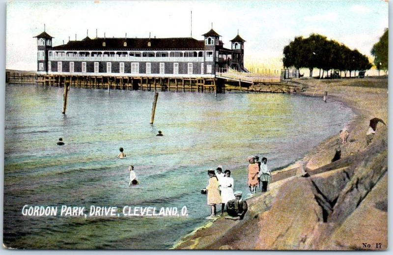 Cleveland, Ohio Postcard GORDON PARK, Drive Children at Bathing Beach c1910s