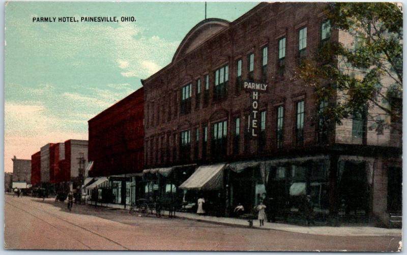 Painesville, Ohio Postcard PARMLY HOTEL Downtown Street View 1918 Cancel