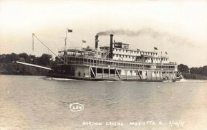 Real Photo Postcard Gordon Green Paddle Wheel Steamer in Marietta, Ohio~127715
