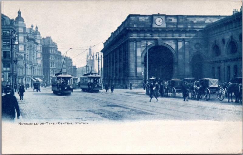 Newcastle On Tyne Central Station England UK Trolley Hose Buggies Postcard E20