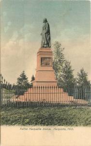 C-1910 Marquette Statue Michigan hand colored postcard 3121