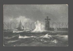 080266 LIGHTHOUSE view in storm Vintage PC
