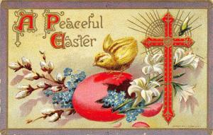 Easter~Chick on Hot Pink Egg Shell~Pussy Willows~Forget-Me-Nots~Red Cross~Gold