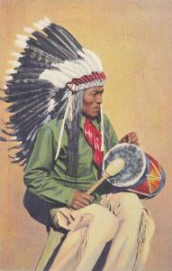 Pueblo Indian Drummer, member of the San Ildefonso pueblo, located near Santa...
