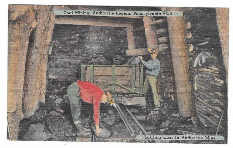 Anthracite Coal Mining Region PA Miner Loading Coal Postcard