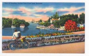 View of Hamilton Hrbor from Crow lane, Bermuda, boy & bicycle,PU-1964