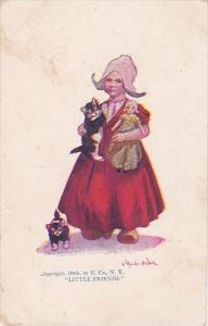 Dutch Girl With Doll and Cats Little Friends Signed Wall