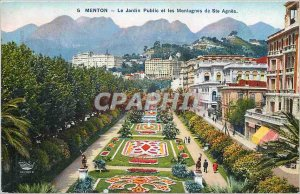 Old Postcard Menton The Public Garden and the Mountains of St. Agnes