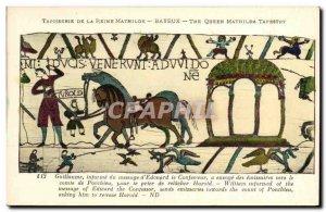 Postcard Old Bayeux Tapestry De La Reine Mathilde Guillaume informs the messa...