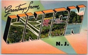 Vintage UNION New Jersey Large Letter Postcard Coronet Linen c1950s Unused