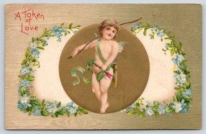 Valentine~Gossamer Cherub Cupid~Gold Ball~Forget-me-Not Hearts~Grain Back~Winsch