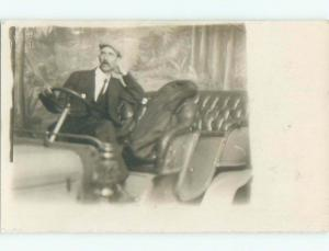 Pre-1920 rppc MAN IN CAR AT STUDIO Postmarked Vancouver BC W0912