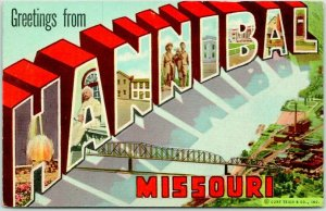 1940s HANNIBAL Missouri Large Letter Postcard Multi-View /Bridge Curteich Linen