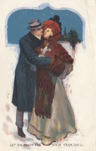 NEW YEAR; 1900-10s; Let Us Begin The New Year Well, Couple embracing