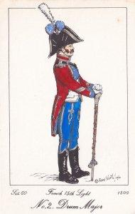 French 15th Light Regiment Drum Major Napoleonic War Soldier 1811 PB Postcard