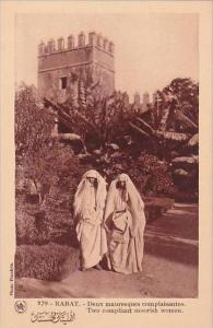 Morocco Rabat Two compliant moorish women 1920s-30s