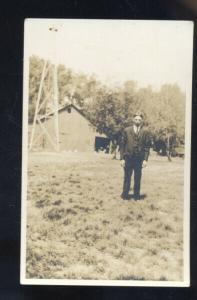 RPPC DOWNS KANSAS MASTER OLEN SAMUELSSEN WINDMILL FARM REAL PHOTO POSTCARD