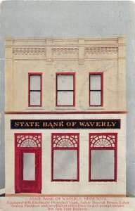 H11/ Waverly Minnesota Postcard 1912 State Bank Building Vault Electricity
