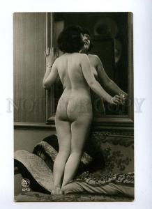 129008 NUDE Woman BELLE MIRROR Vintage Real PHOTO OPN #1043 PC
