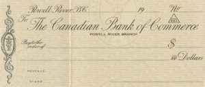POWELL RIVER, British Columbia , 1900-10s ; Canadian Bank of Commerce Check