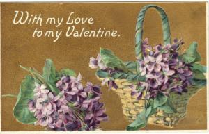 Vintage 1900s Valentine Postcard Violets Basket