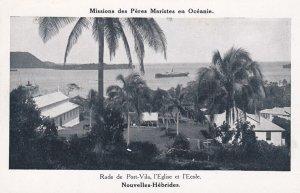 Nouvelles-Hebrides , 1910-30s ; Rade de Port-Vila , l'Eglise et l'Ecole