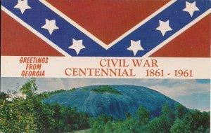 Atlanta GA, Stone Mountain Confederate Monument, Flag, Civil War Centennial 1961