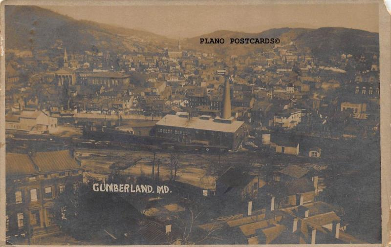CUMBERLAND, MARYLAND VIEW OF CUMBERLAND-1910 RPPC REAL PHOTO POSTCARD