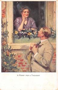 Clarence F Underwood~A Pansy for a Thought~Lovely Lady in Window~Flower Box~Gent