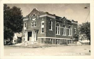 Baptist Church 1940s Marshfield Missouri RPPC real Photo postcard 11186