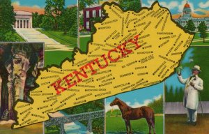 Kentucky The Blue Grass State Lincoln National Memorial Vintage Chrome Post Card