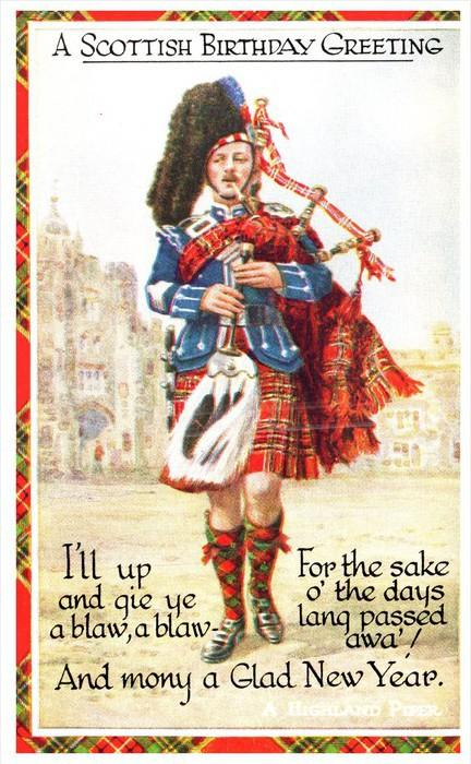 15384 highland piper scottish birthday greeting