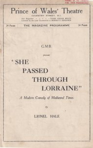 She Passed Through Lorraine Percy Walsh Prince Of Wales Theatre Programme