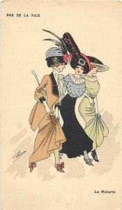 Early parisian fashion vintage pictorial card artist signed  Les Midinettes