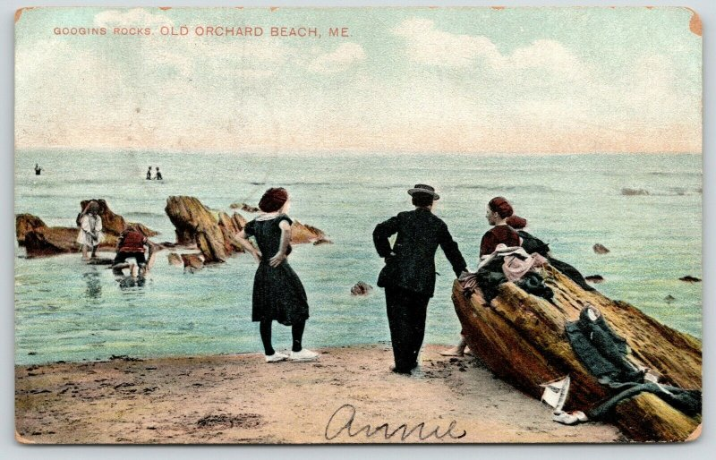 Old Orchard Beach Maine~Bathing Beauties~Abandoned Clothing on Googins Rock~1907