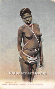 African Nude Postcard Young Zulu Girl Writing on back