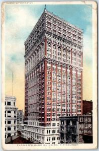 Pittsburgh Pennsylvania Postcard FARMER'S BANK BUILDING Street View 1914 Cancel