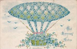 Birthday Wishes Hot Air Balloon With Blue Flowers 1908