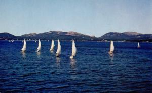 ME - Maine Coastline. (Sailing) Mt Desert Hills in Background