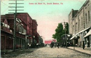 Vtg Postcard 1909 Scene on Main St. South Boston VA - Dirt Street View