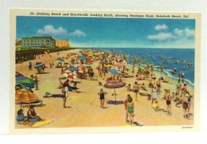 Rehoboth Beach Delaware Beach & Boardwalk Henlopen Hotel Linen Vintage Postcard