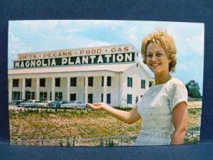 Postcard GA Tifton Magnolia Plantation Gifts Food Pecans Gas