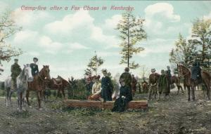 Kentucky ,1900-10s  ;  Camp-fire after a Fox Chase