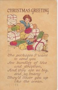 CHRISTMAS; Greeting, Girl surrrounded by gifts, Poem, 00-10s