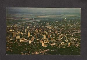 NE  Aerial View Omaha Nebraska Skyline Buildings Missouri River Postcard