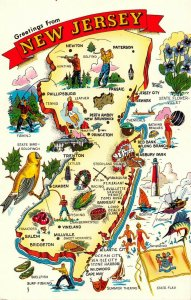 LPM62 New Jersey Map Chrome Postcard The Garden State